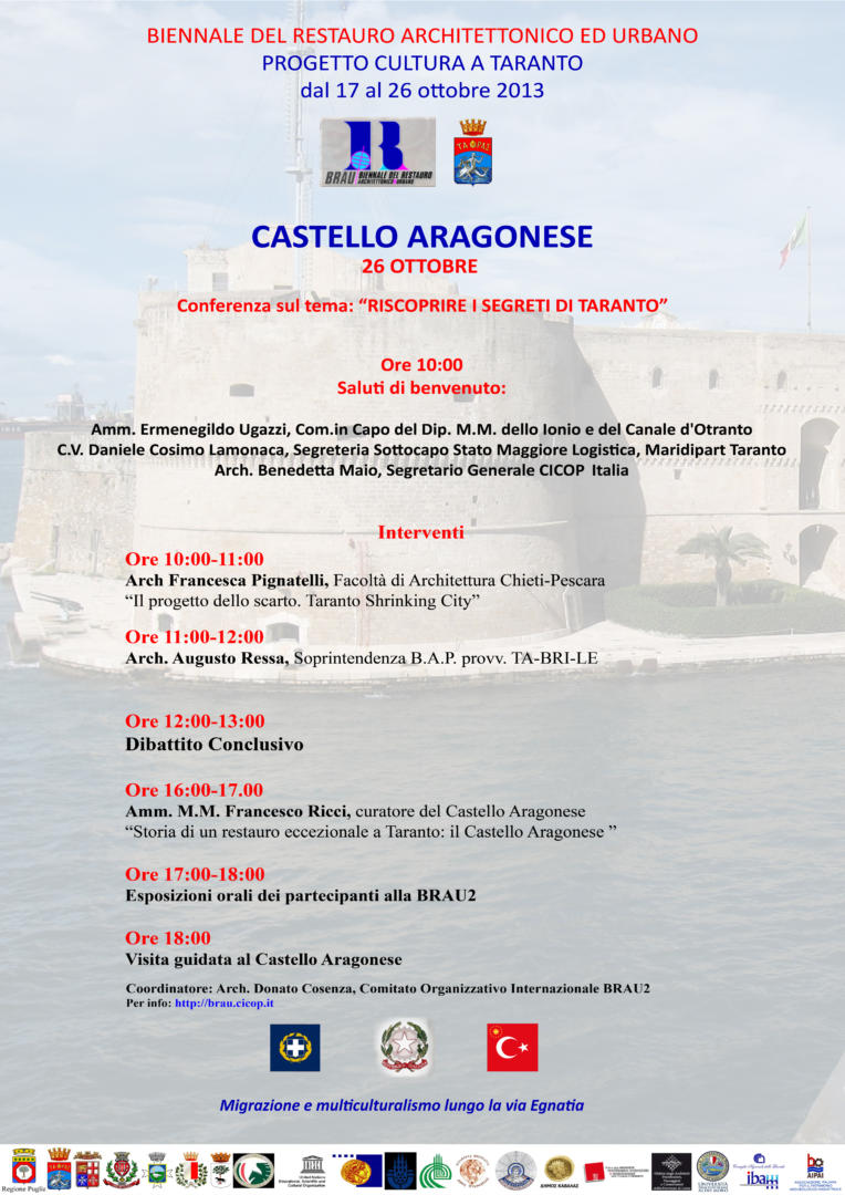 BRAU2, programme of Workshop at Castello Aragonese, Taranto.