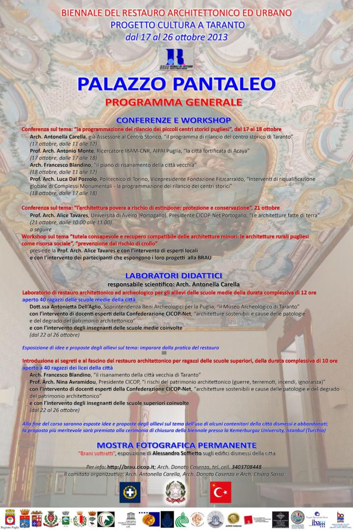 BRAU2, programme of Workshop at Palazzo Pantaleo, Taranto.