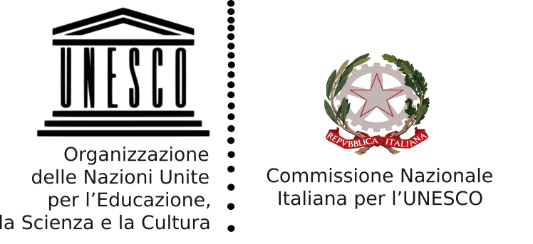 Logo United Nations Educational, Scientific and Cultural Organization (UNESCO), Commissione Nazionale Italiana.