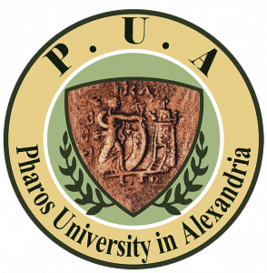 Logo Pharos University in Alexandria.