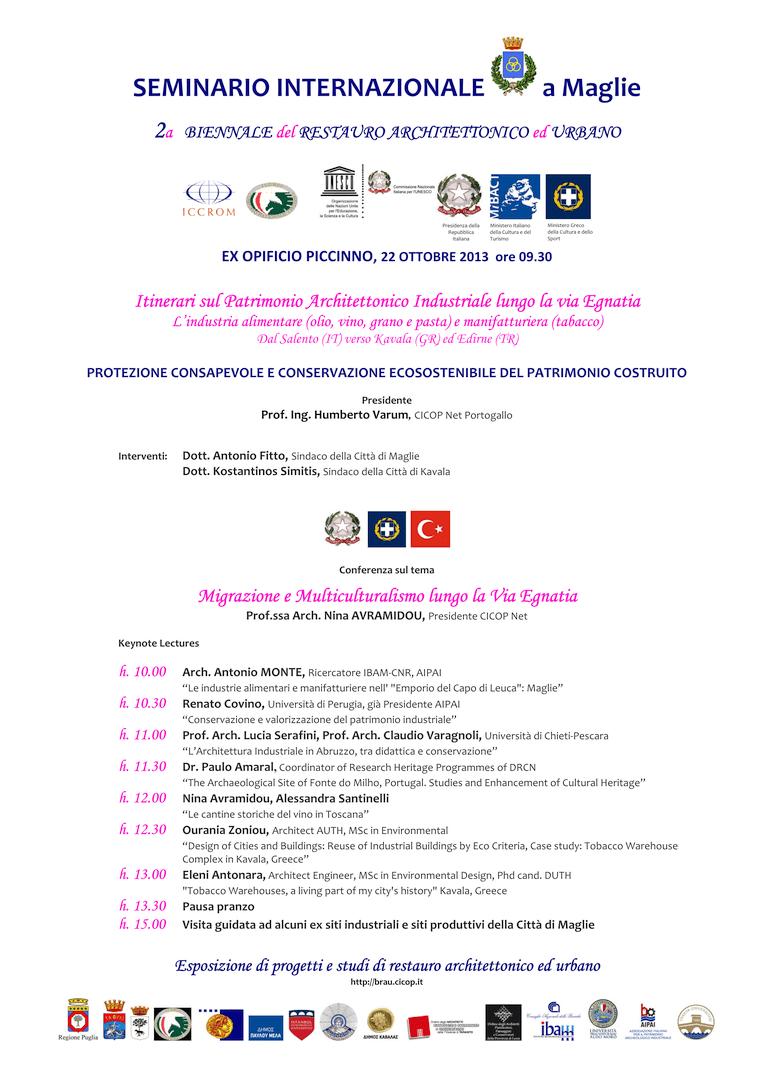 BRAU2 Programma Conferenza Ex Opificio Piccinno, Maglie.
