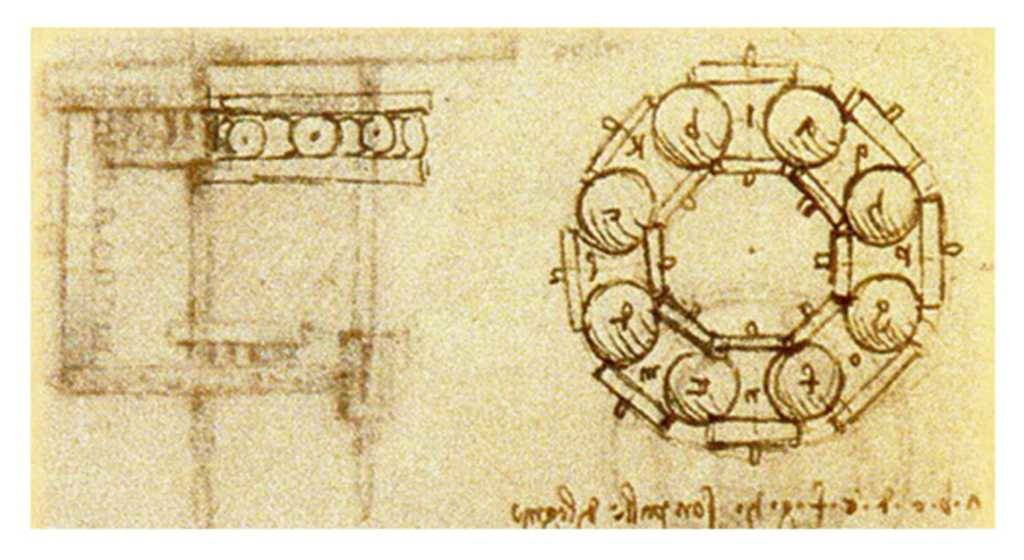 "Drawing of Leonardo's ""ball bearing""."