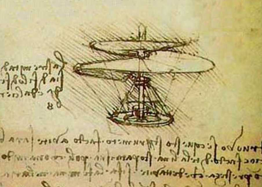 "Drawing of Leonardo's ""helicopter""."