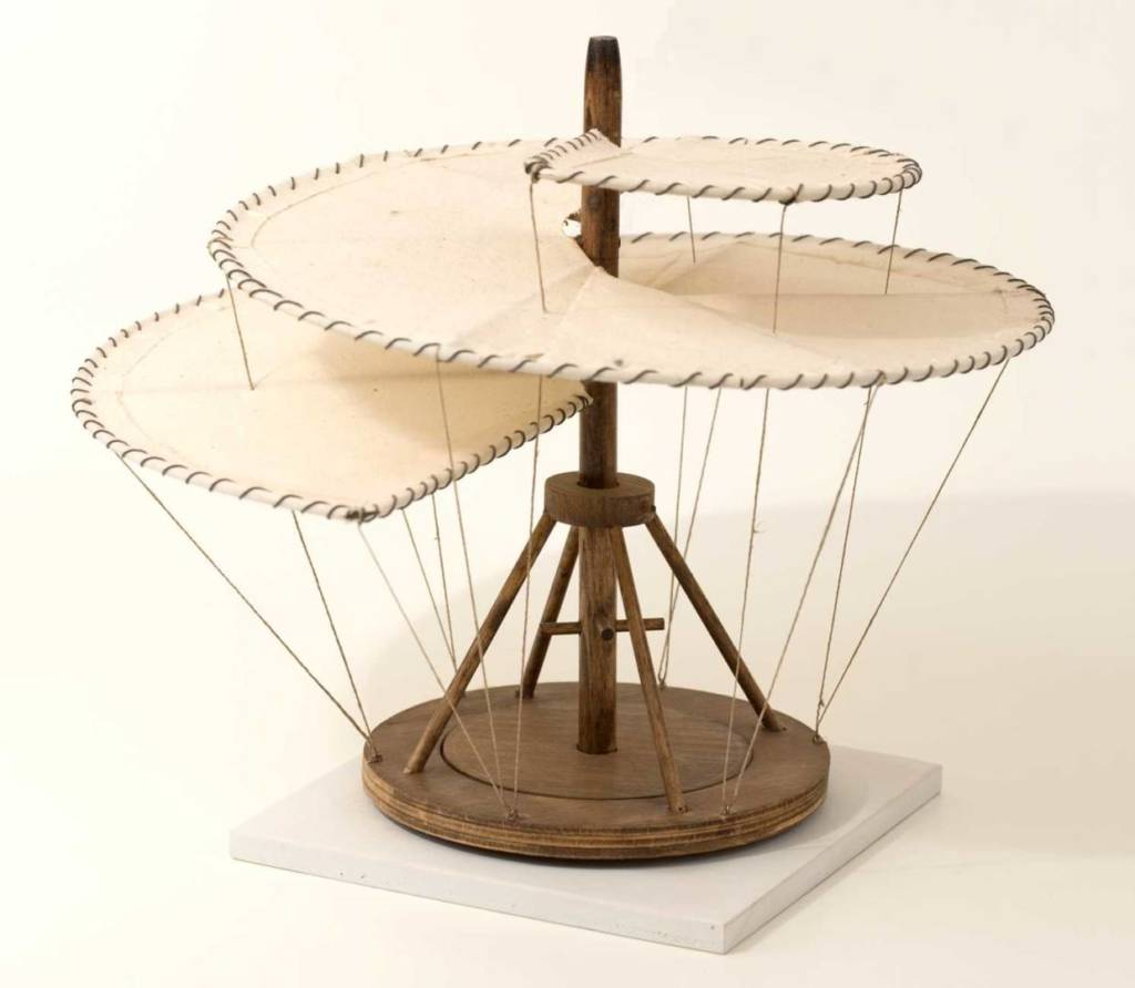 "Model of Leonardo's ""helicopter"", built by Andrea Neri."