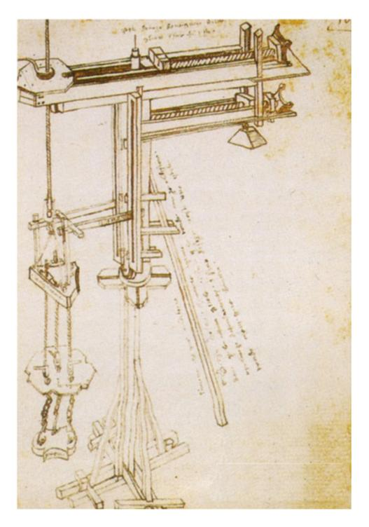 "Drawing of Leonardo's ""tower crane""."